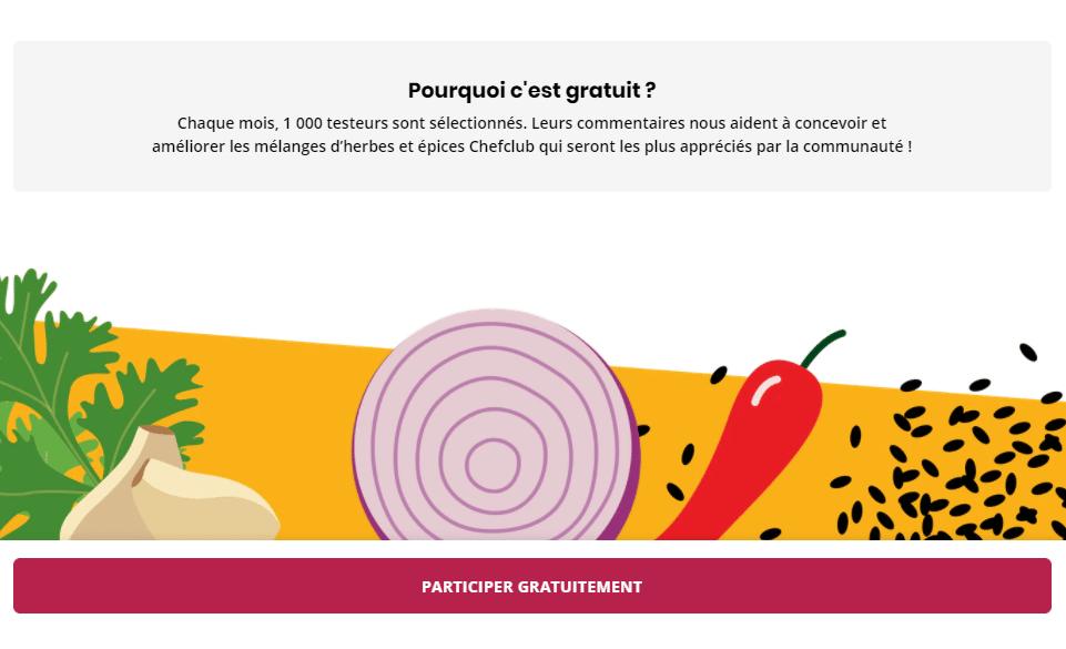 Echantillons gratuits d'herbes et épices Chefclub sur chefclub.tv
