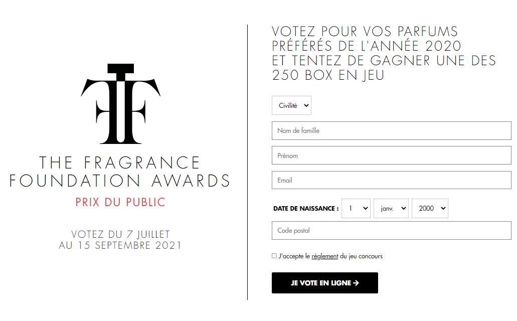 250 Fragrance Foundation Box d'échantillons de parfums à remporter sur fragrancefoundationawards.fr